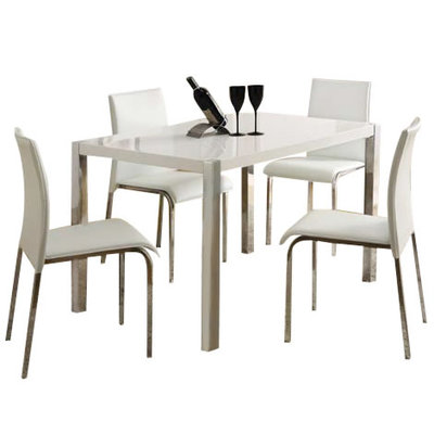 Dining Table And Chairs Set Charisma Black And White